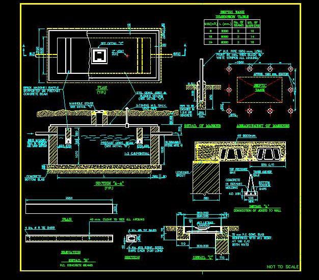 نقشه اجرایی سپتیک تانک بتنی